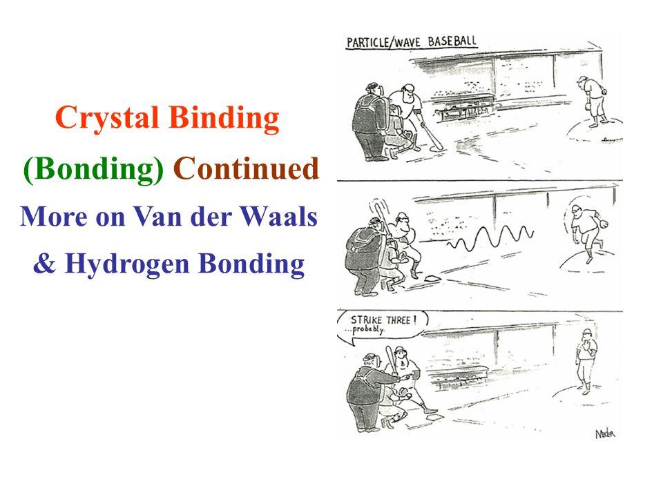 Crystal Binding (Bonding) Continued More on Van der Waals & Hydrogen Bonding