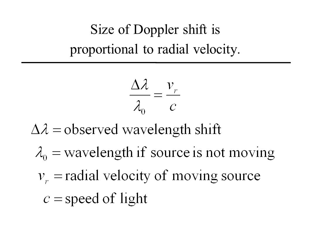 Size of Doppler shift is proportional to radial velocity.
