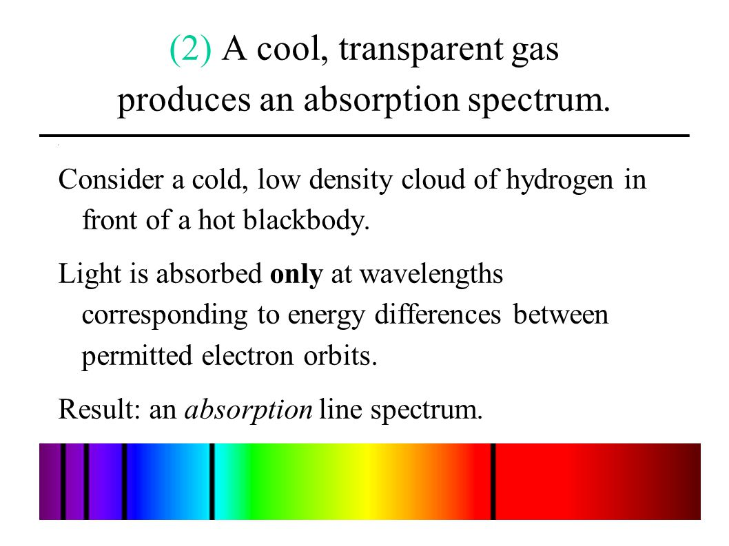 (2) A cool, transparent gas produces an absorption spectrum.