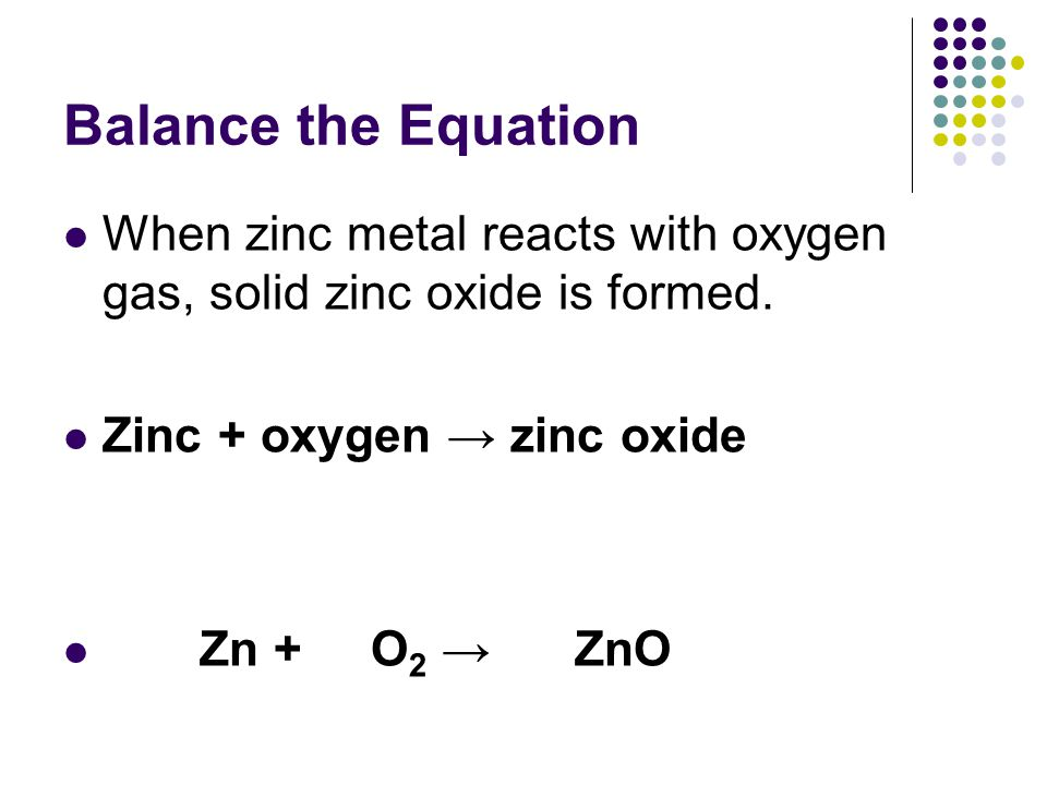 Balance the Equation Calcium metal reacts with chlorine gas to produce calcium chloride Calcium + chlorine → calcium chloride Ca + Cl 2 → CaCl 2