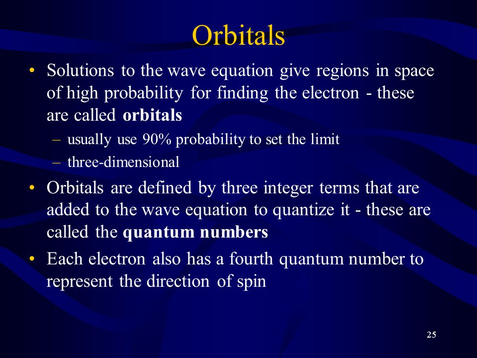 25 Orbitals Solutions to the wave equation give regions in space of high probability for finding the electron - these are called orbitals –usually use 90% probability to set the limit –three-dimensional Orbitals are defined by three integer terms that are added to the wave equation to quantize it - these are called the quantum numbers Each electron also has a fourth quantum number to represent the direction of spin