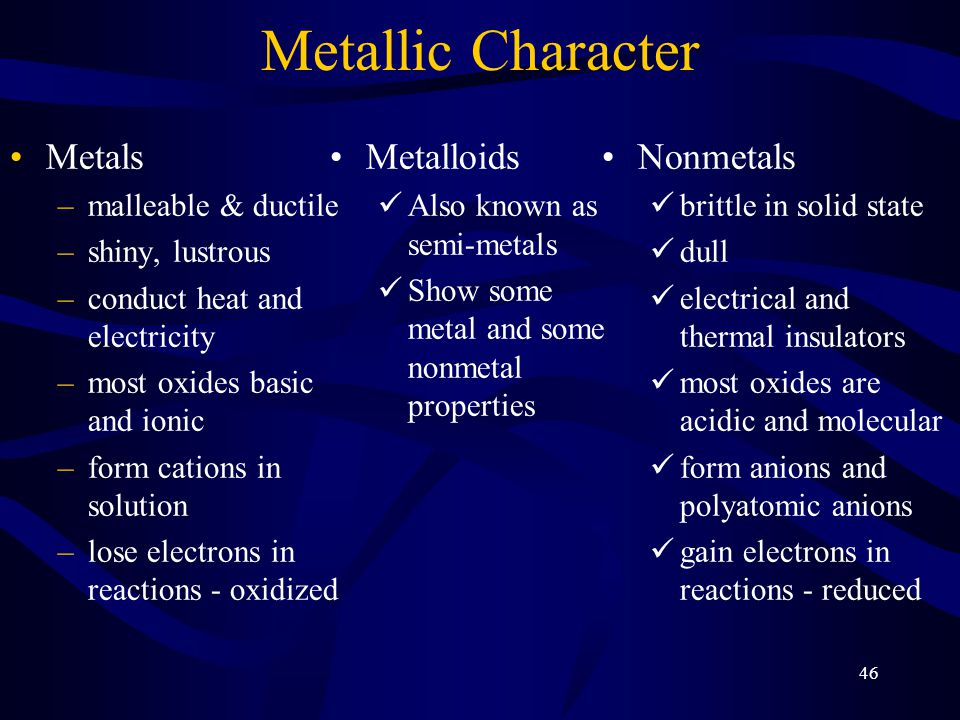 46 Metallic Character Metals –malleable & ductile –shiny, lustrous –conduct heat and electricity –most oxides basic and ionic –form cations in solution –lose electrons in reactions - oxidized Nonmetals brittle in solid state dull electrical and thermal insulators most oxides are acidic and molecular form anions and polyatomic anions gain electrons in reactions - reduced Metalloids Also known as semi-metals Show some metal and some nonmetal properties