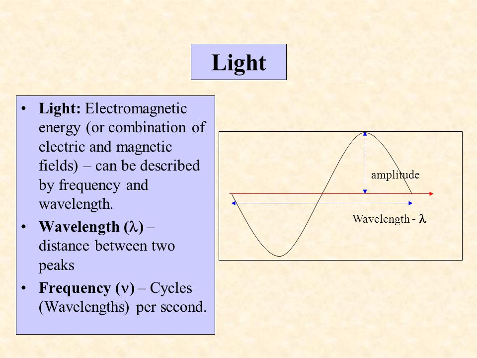Light Light: Electromagnetic energy (or combination of electric and magnetic fields) – can be described by frequency and wavelength. Wavelength ( ) –