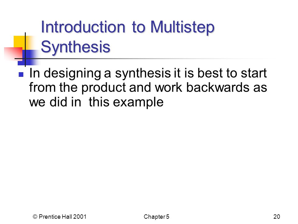 © Prentice Hall 2001Chapter 520 In designing a synthesis it is best to start from the product and work backwards as we did in this example Introduction to Multistep Synthesis