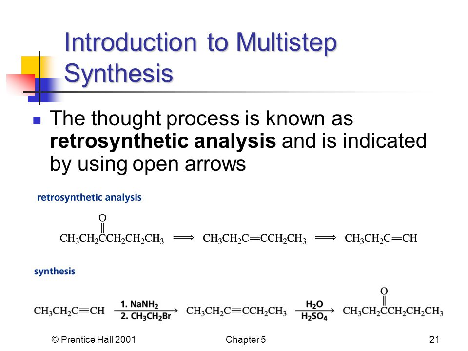 © Prentice Hall 2001Chapter 521 The thought process is known as retrosynthetic analysis and is indicated by using open arrows Introduction to Multistep Synthesis
