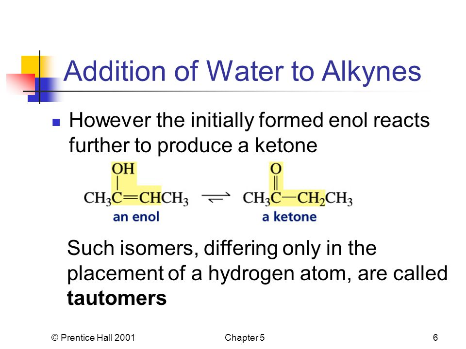 © Prentice Hall 2001Chapter 56 Addition of Water to Alkynes However the initially formed enol reacts further to produce a ketone Such isomers, differi
