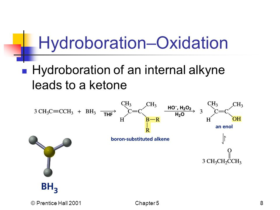 © Prentice Hall 2001Chapter 58 Hydroboration–Oxidation Hydroboration of an internal alkyne leads to a ketone