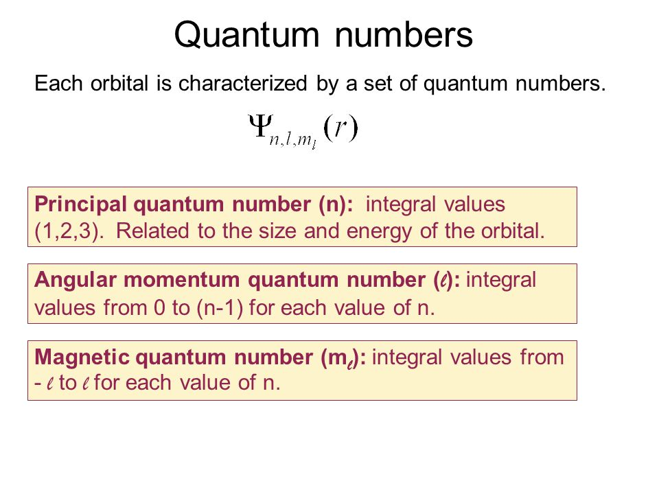 Quantum numbers Each orbital is characterized by a set of quantum numbers.