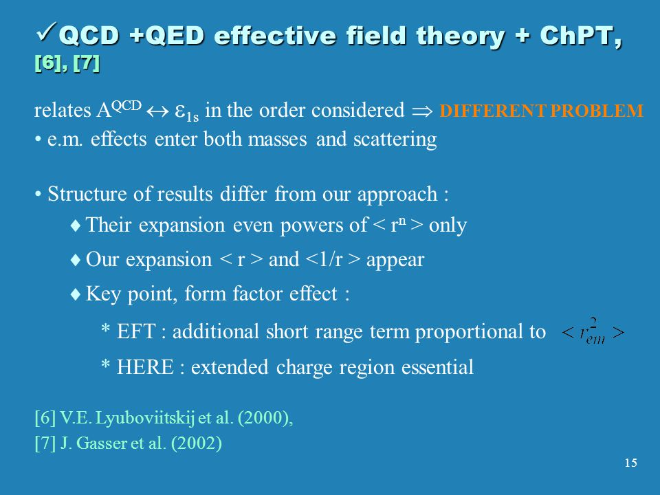 15 QCD +QED effective field theory + ChPT, [6], [7] QCD +QED effective field theory + ChPT, [6], [7] Structure of results differ from our approach :   Their expansion even powers of only   Our expansion and appear   Key point, form factor effect : * * EFT : additional short range term proportional to * * HERE : extended charge region essential [6] V.E.