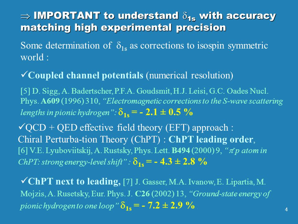 4 Some determination of  1s as corrections to isospin symmetric world : Coupled channel potentials (numerical resolution) [5] D.