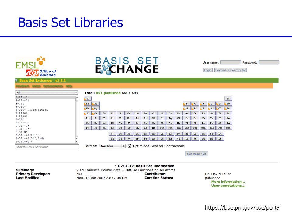 Basis Set Libraries https://bse.pnl.gov/bse/portal