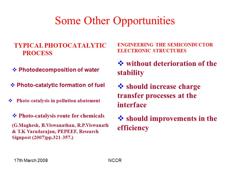 17th March 2008NCCR Some Other Opportunities TYPICAL PHOTOCATALYTIC PROCESS  Photodecomposition of water  Photo-catalytic formation of fuel  Photo-catalysis in pollution abatement  Photo-catalysis route for chemicals (G.Maghesh, B.Viswanathan, R.P.Viswanath & T.K Varadarajan, PEPEEF, Research Signpost (2007)pp.321-357.) ENGINEERING THE SEMICONDUCTOR ELECTRONIC STRUCTURES  without deterioration of the stability  should increase charge transfer processes at the interface  should improvements in the efficiency