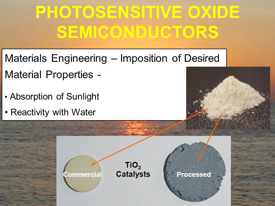 Materials Engineering – Imposition of Desired Material Properties - Absorption of Sunlight Reactivity with Water PHOTOSENSITIVE OXIDE SEMICONDUCTORS TiO 2 Catalysts Commercial Processed