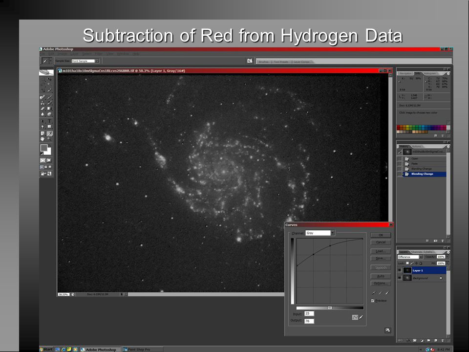 Subtraction of Red from Hydrogen Data