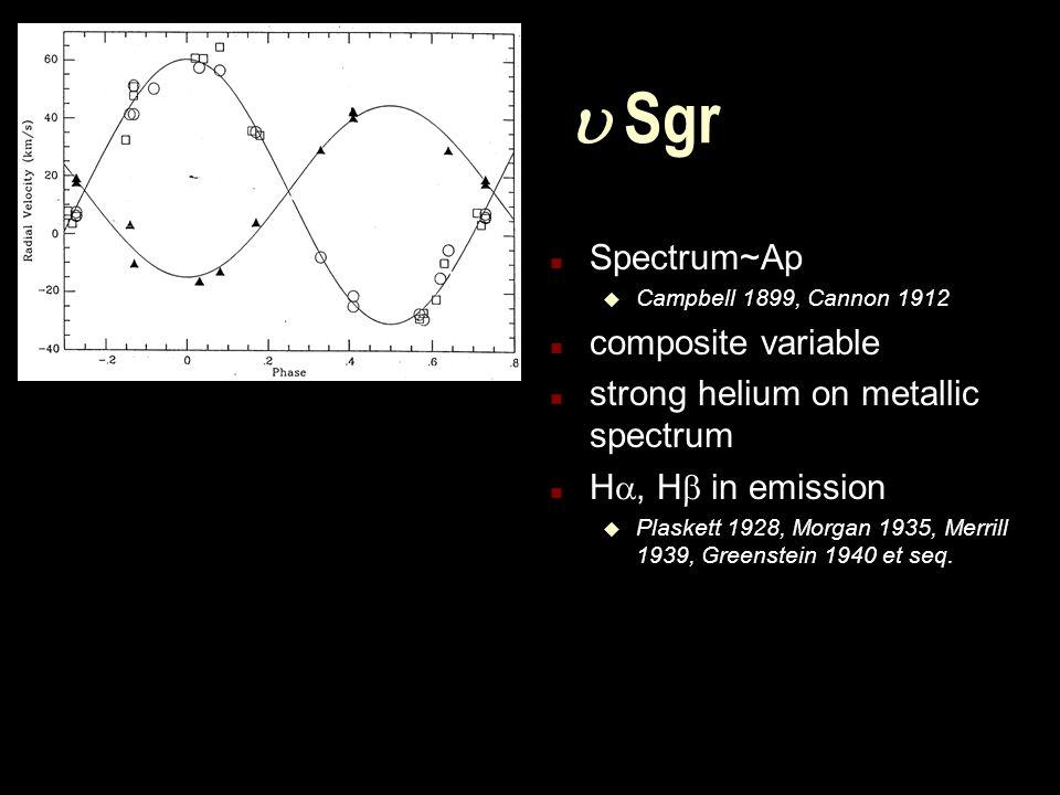  Sgr n Spectrum~Ap u Campbell 1899, Cannon 1912 n composite variable n strong helium on metallic spectrum n H , H  in emission u Plaskett 1928, Morgan 1935, Merrill 1939, Greenstein 1940 et seq.