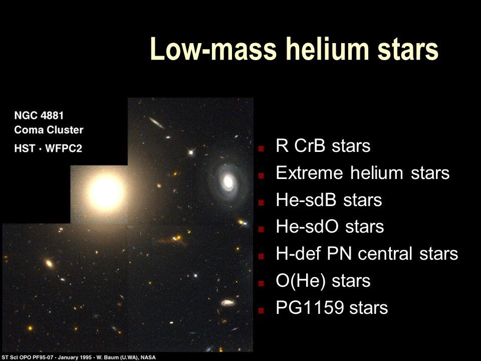 Low-mass helium stars n R CrB stars n Extreme helium stars n He-sdB stars n He-sdO stars n H-def PN central stars n O(He) stars n PG1159 stars