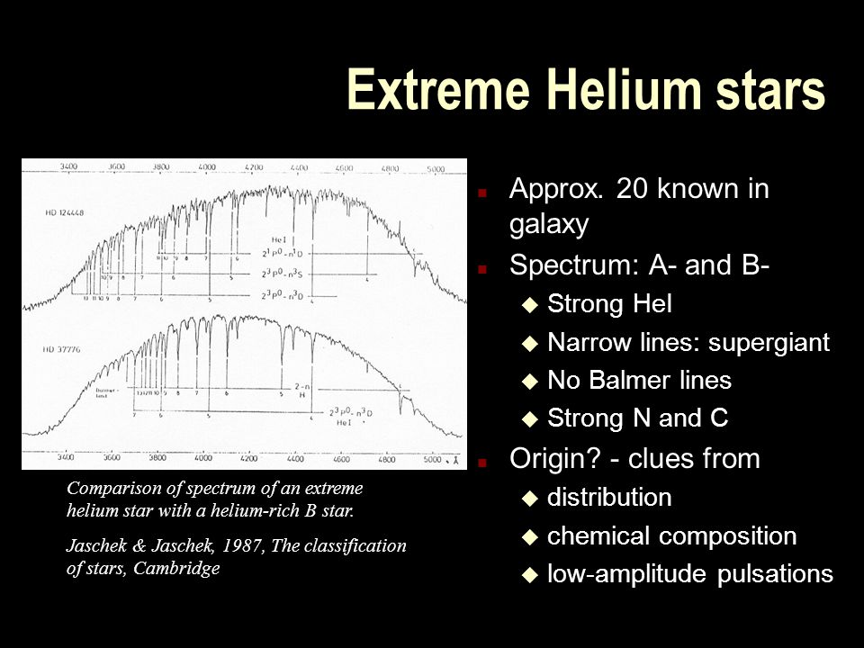 Extreme Helium stars n Approx. 20 known in galaxy n Spectrum: A- and B- u Strong HeI u Narrow lines: supergiant u No Balmer lines u Strong N and C n O