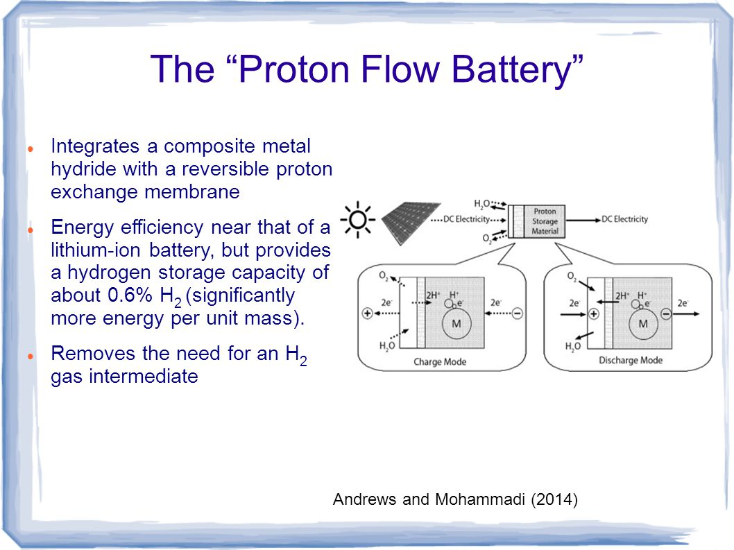 "The ""Proton Flow Battery"" Integrates a composite metal hydride with a reversible proton exchange membrane Energy efficiency near that of a lithium-ion"