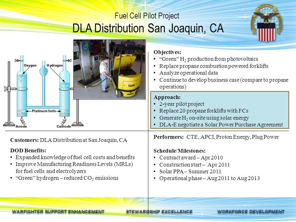 WARFIGHTER SUPPORT ENHANCEMENT STEWARDSHIP EXCELLENCE WORKFORCE DEVELOPMENT Fuel Cell Pilot Project DLA Distribution San Joaquin, CA Customers: DLA Di