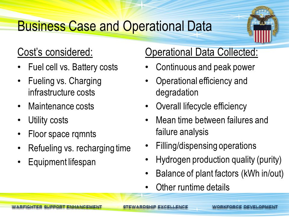 WARFIGHTER SUPPORT ENHANCEMENT STEWARDSHIP EXCELLENCE WORKFORCE DEVELOPMENT Business Case and Operational Data Cost's considered: Fuel cell vs.