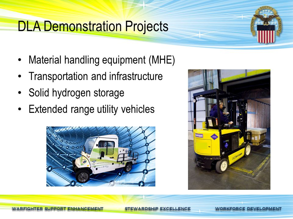 WARFIGHTER SUPPORT ENHANCEMENT STEWARDSHIP EXCELLENCE WORKFORCE DEVELOPMENT DLA's Hydrogen Fuel Cell R&D Goals Suppliers are already commenting on the positive impact the program is having on the supply chain.