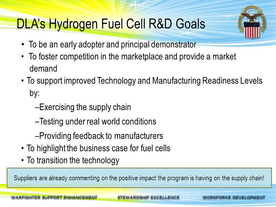 WARFIGHTER SUPPORT ENHANCEMENT STEWARDSHIP EXCELLENCE WORKFORCE DEVELOPMENT DLA's Hydrogen Fuel Cell R&D Goals Suppliers are already commenting on the