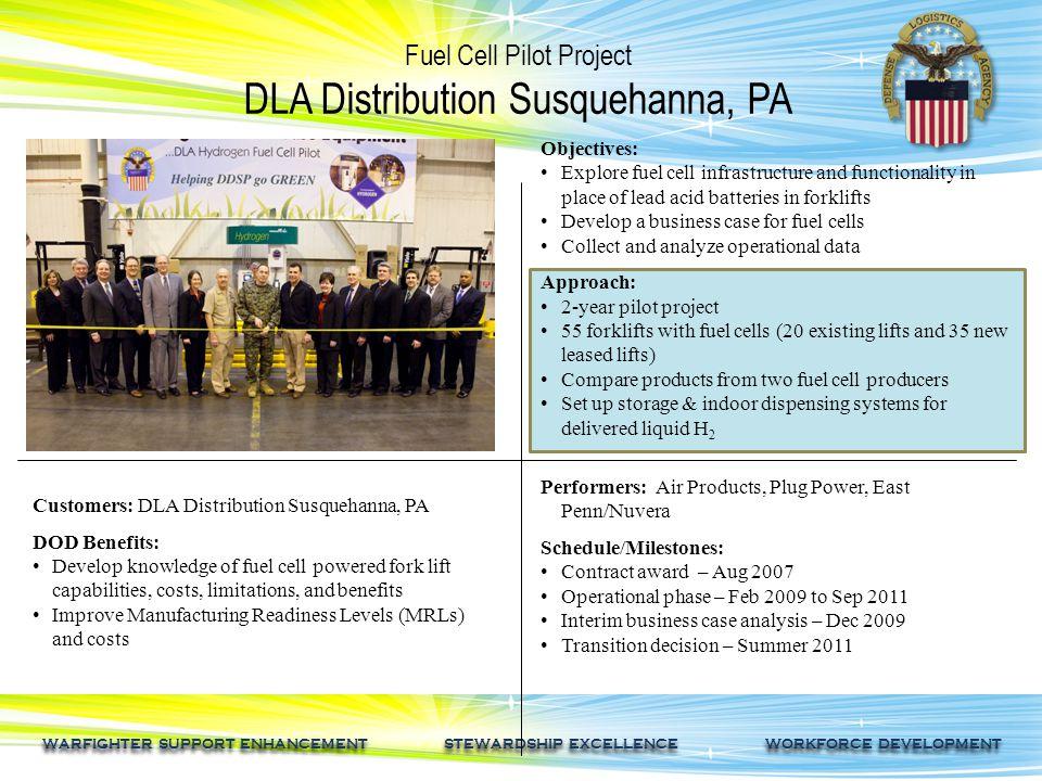 WARFIGHTER SUPPORT ENHANCEMENT STEWARDSHIP EXCELLENCE WORKFORCE DEVELOPMENT Fuel Cell Pilot Project DLA Distribution Susquehanna, PA Customers: DLA Di