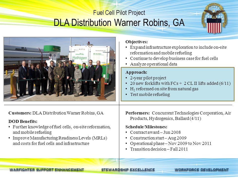 WARFIGHTER SUPPORT ENHANCEMENT STEWARDSHIP EXCELLENCE WORKFORCE DEVELOPMENT Fuel Cell Pilot Project DLA Distribution Warner Robins, GA Customers: DLA