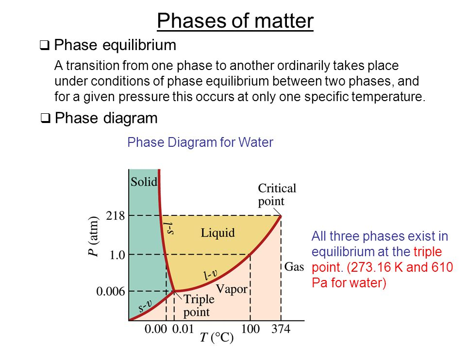  Phase equilibrium Phases of matter A transition from one phase to another ordinarily takes place under conditions of phase equilibrium between two phases, and for a given pressure this occurs at only one specific temperature.