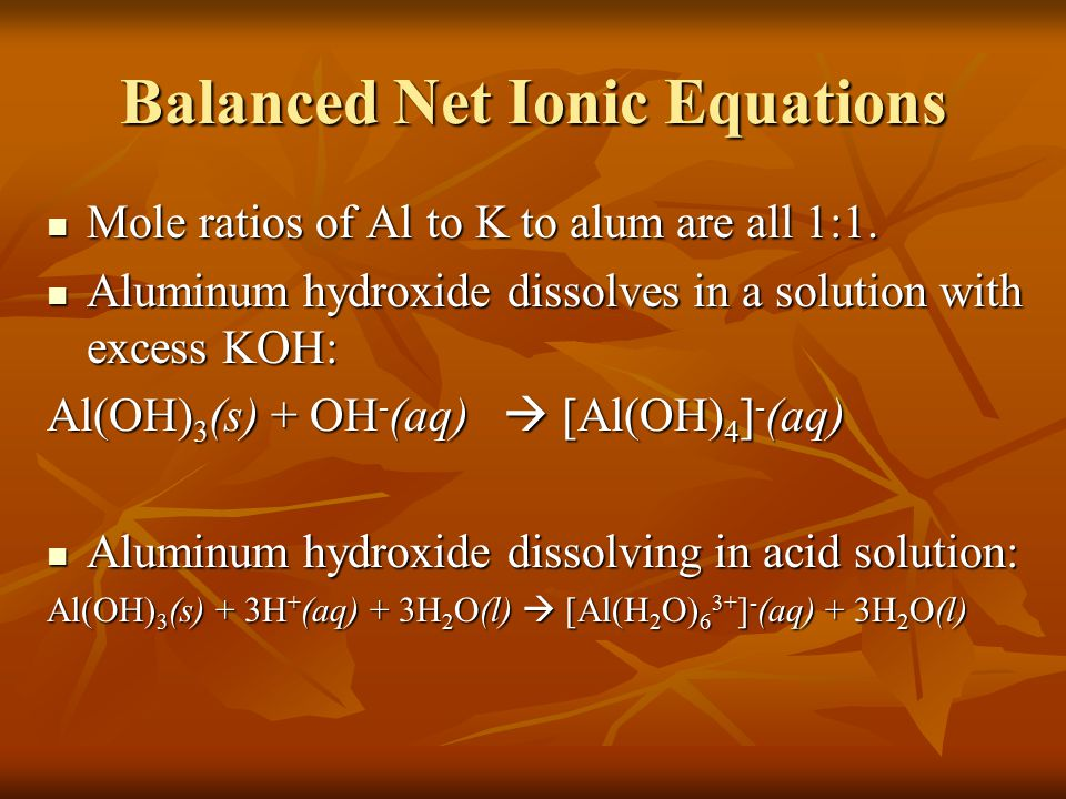 Lab Discussion Questions a) Aluminum reacts with KOH and water to form tetrahydroxoaluminate(III) ions, potassium ions and hydrogen gas: 2Al(s) + 2K + (aq) + 2OH - (aq) + 6H 2 O(l)  2[Al(OH) 4 ] - (aq) + 2K + (aq) + 3H 2 (g) The oxidation and reduction half reactions: Oxidation:2Al(s) + 8OH - (aq) + 6H 2 O(l)  2[Al(OH) 4 ] - (aq) + 6e - Reduction: 6H 2 O(l) + 6e -  3H 2 (g) + 6OH - (aq)