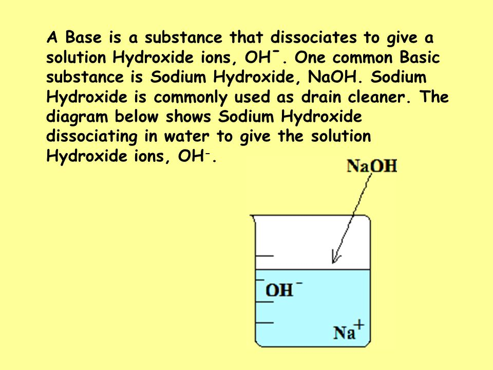 A Base is a substance that dissociates to give a solution Hydroxide ions, OH -.
