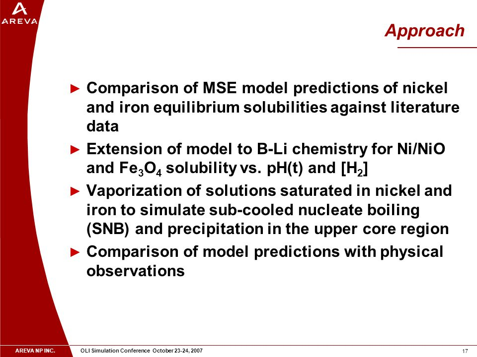 AREVA NP INC. OLI Simulation Conference October 23-24, 2007 17 Approach ► Comparison of MSE model predictions of nickel and iron equilibrium solubilit
