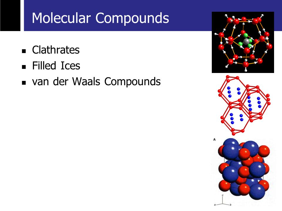 Clathrates Filled Ices van der Waals Compounds Molecular Compounds