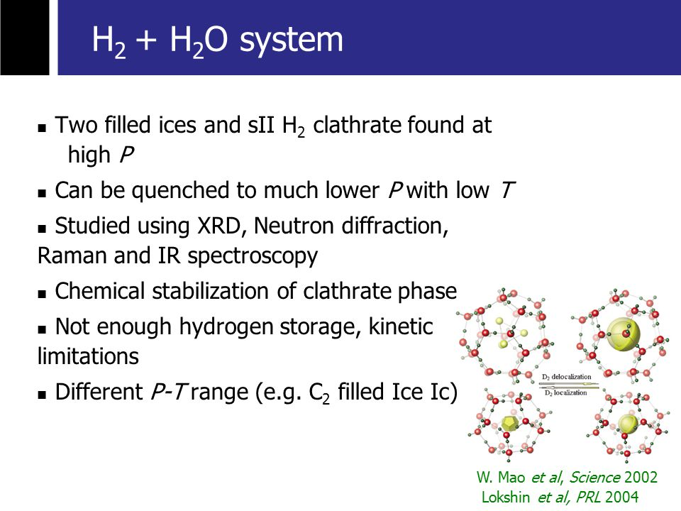 H 2 + H 2 O system Two filled ices and sII H 2 clathrate found at high P Can be quenched to much lower P with low T Studied using XRD, Neutron diffraction, Raman and IR spectroscopy Chemical stabilization of clathrate phase Not enough hydrogen storage, kinetic limitations Different P-T range (e.g.