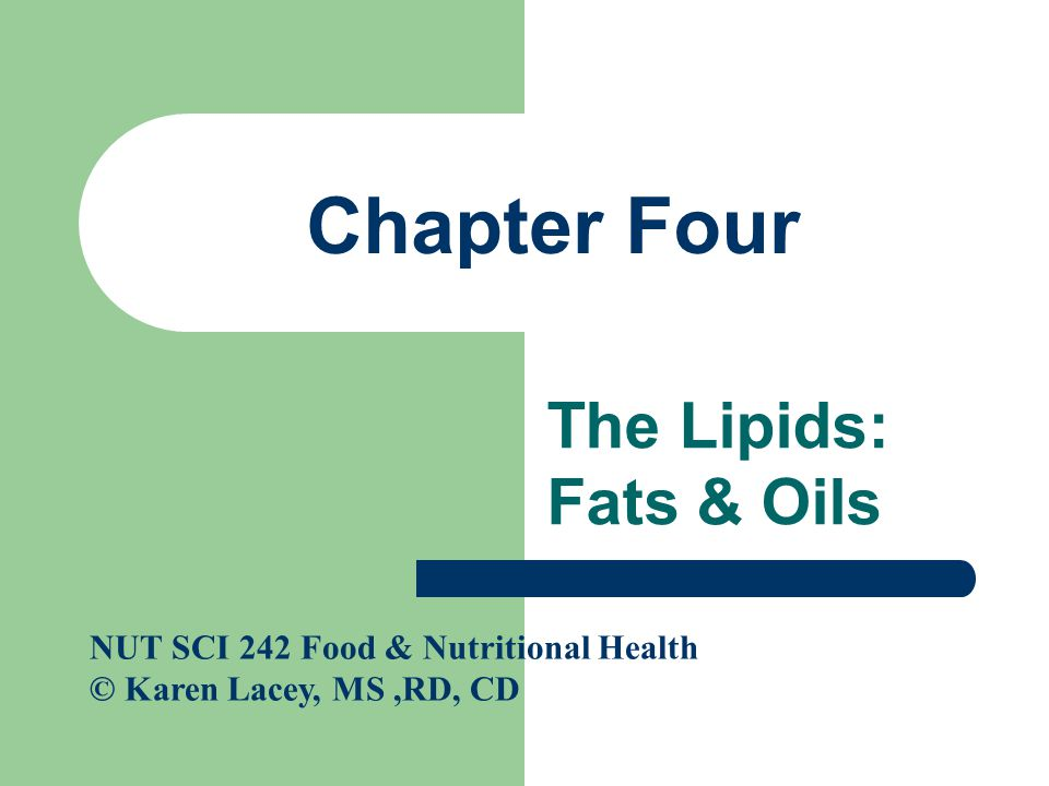 Cont'd Monounsaturated fatty acid: also called a MUFA; a fatty acid containing one point of unsaturation – Found mostly in vegetable oils such as olive, canola & peanut