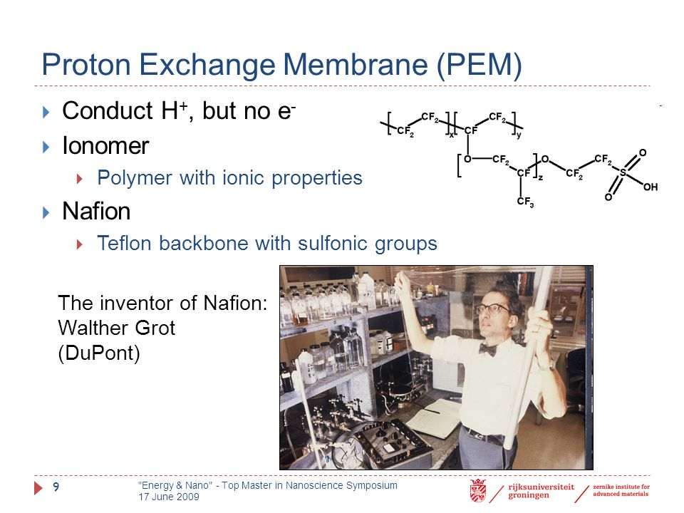 Proton Exchange Membrane (PEM)  Conduct H +, but no e -  Ionomer  Polymer with ionic properties  Nafion  Teflon backbone with sulfonic groups The