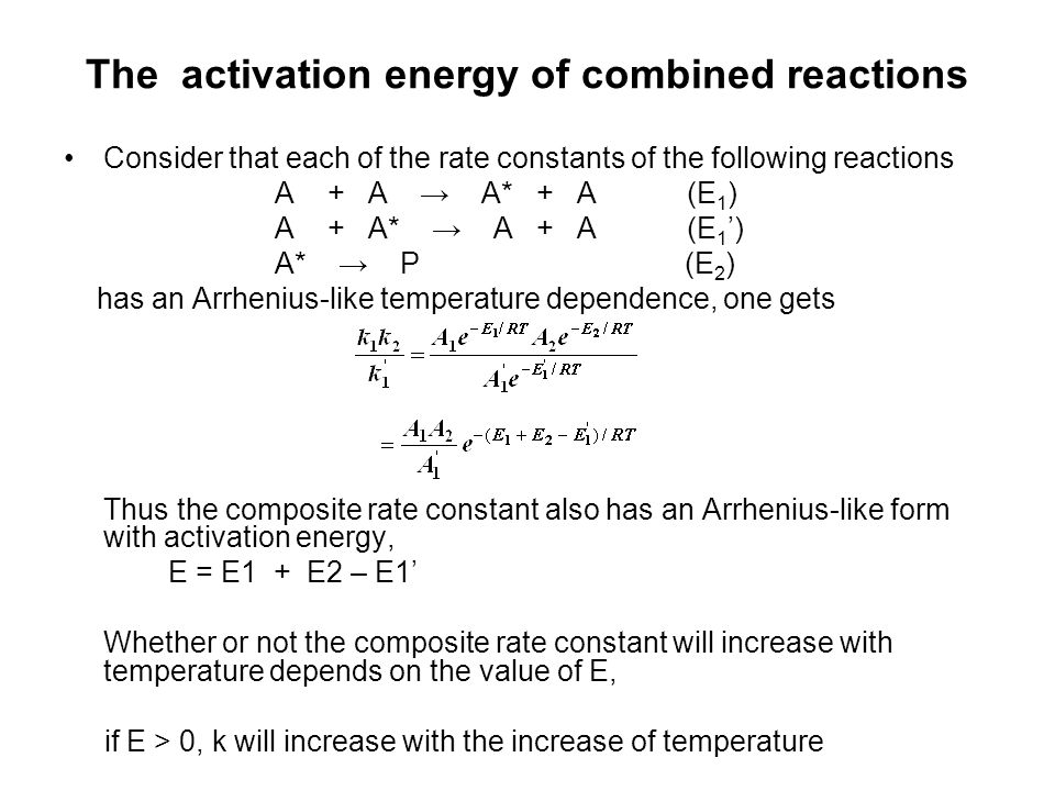 Combined activation energy