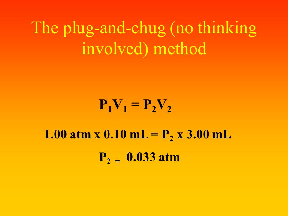 Solve using dimensional analysis Initial P is 1.00 ATM so you have two possible conversion factors: A. 0.10 mLORB. 3.00 mL ---------- ---------- 3.00