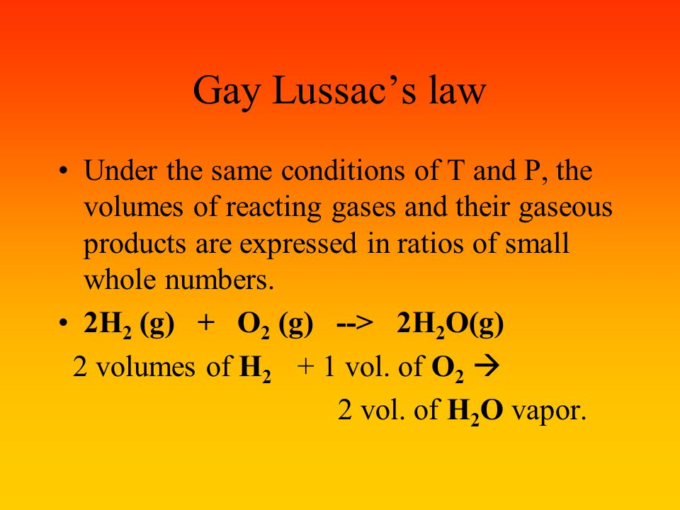 More chemistry problems involving gases: 1. Gas volume – gas volume 2. Mass-gas volume Avagadro's principle: Equal volumes of all gases, under the sam