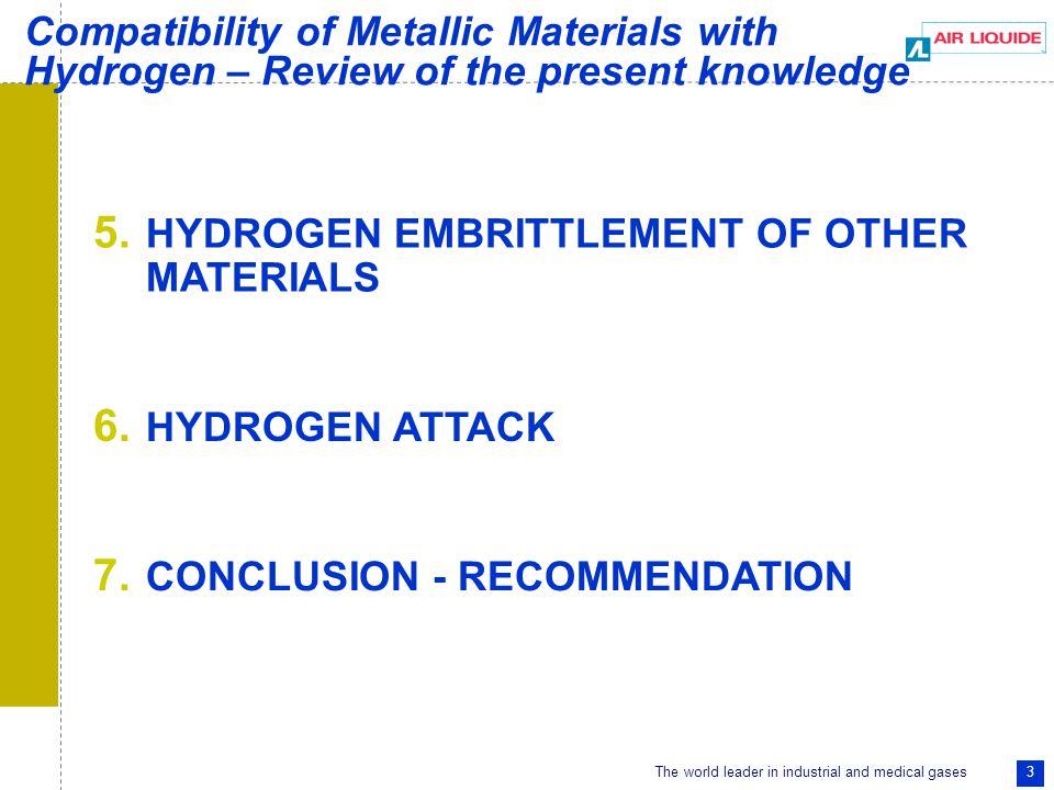 The world leader in industrial and medical gases 4  Internal hydrogen embrittlement  External hydrogen embrittlement 1.