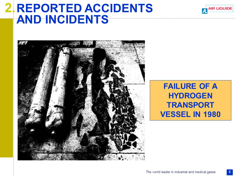 The world leader in industrial and medical gases 49 FAILURE OF A HYDROGEN TRANSPORT VESSEL IN 1983.