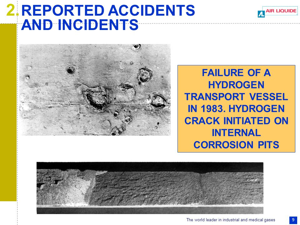 The world leader in industrial and medical gases 10 HYDROGEN CYLINDER BURSTS INTERGRANULAR CRACK 2.