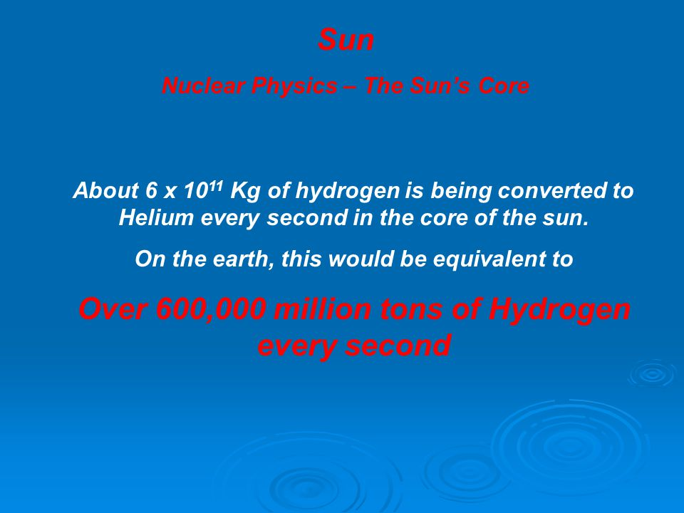 Sun Nuclear Physics – The Sun's Core About 6 x 10 11 Kg of hydrogen is being converted to Helium every second in the core of the sun. On the earth, th