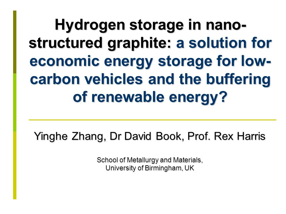 Hydrogen as a fuel for the future Nanostructured carbon-based materials for hydrogen storage Outline