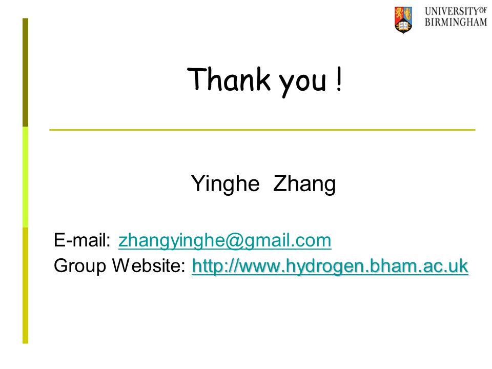 Yinghe Zhang E-mail: zhangyinghe@gmail.comzhangyinghe@gmail.com http://www.hydrogen.bham.ac.uk http://www.hydrogen.bham.ac.uk Group Website: http://www.hydrogen.bham.ac.ukhttp://www.hydrogen.bham.ac.uk Thank you !