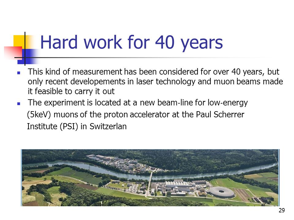 Hard work for 40 years This kind of measurement has been considered for over 40 years, but only recent developements in laser technology and muon beam