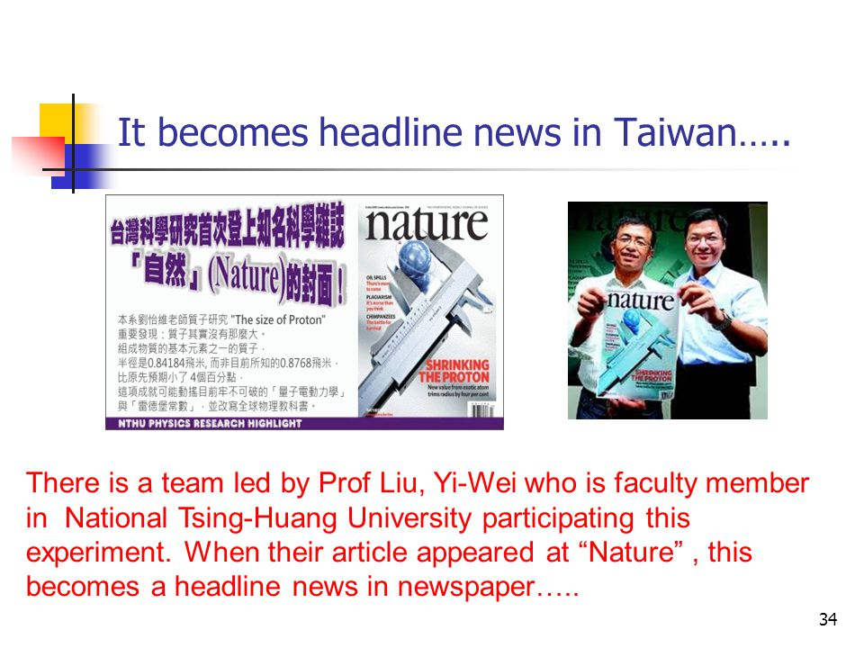 It becomes headline news in Taiwan….. 34 There is a team led by Prof Liu, Yi-Wei who is faculty member in National Tsing-Huang University participatin