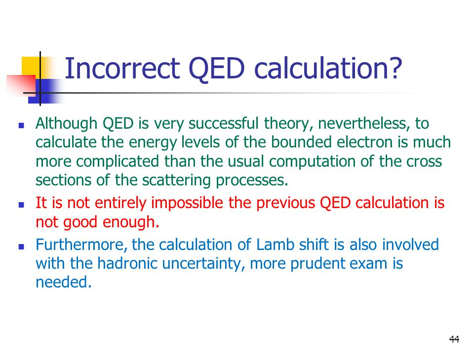 Incorrect QED calculation? Although QED is very successful theory, nevertheless, to calculate the energy levels of the bounded electron is much more c