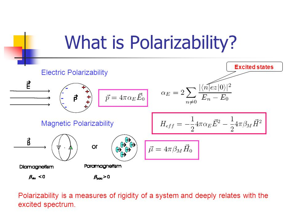 What is Polarizability? Electric Polarizability Magnetic Polarizability Polarizability is a measures of rigidity of a system and deeply relates with t