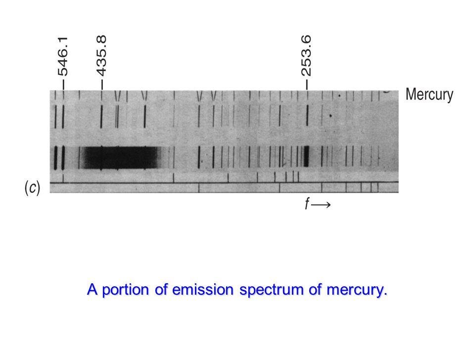 A portion of emission spectrum of mercury.